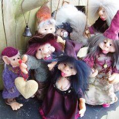 Handmade trolls modeled in cernit