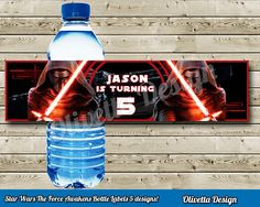 Star Wars Force Awakens Bottle Labels with name BIRTHDAY party Printable - Customized with name - Digital File