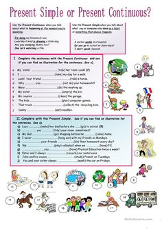 Present Simple or Continuous? - English ESL Worksheets for distance learning and physical classrooms Grammar Practice, Teaching Grammar, Grammar Lessons, Teaching English, English Grammar Worksheets, English Verbs, English Vocabulary, Grammar Activities, English Activities