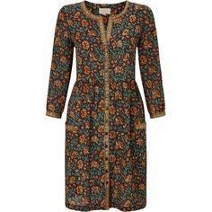 East Samode Print Shirt Dress ($120) via Polyvore featuring dresses, black, women, colour block dress, block print dress, color block shirt dress, print shirt dress and black dress