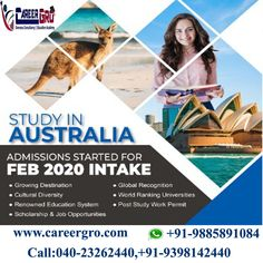 Get a successful life by choosing CareerGro Study In #AUSTRALIA. Global Recognition SuccessfulFinding jobs Low Cost Of Living... Get more details from us now Call: 040-23262440, +91-9398142440. Visit Us :www.careergro.com #StudyAbroad #StudentVisa #AbroadLife #Diploma #Bachelors #Master College Test, Top Course, Overseas Education, Cultural Diversity, Education System, Ielts, Reading Skills, High School Students, Study Abroad