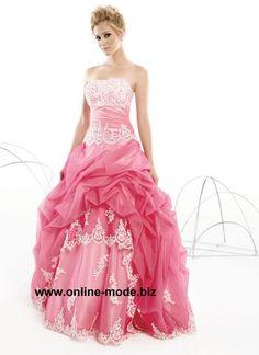 Abendkleid Ballkleid in Rosa mit Stickereien und Spitze von www.online-mode.biz