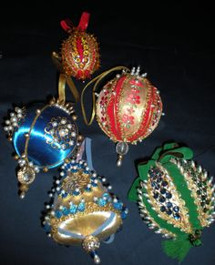 Victorian Cottage Chic Large Christmas Pearls Sequin Satin Beaded Ball Ornaments Set of 10