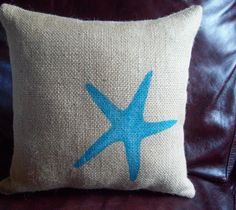 Burlap Starfish Decorative Pillow / Beach by NorthCountryComforts, $25.00