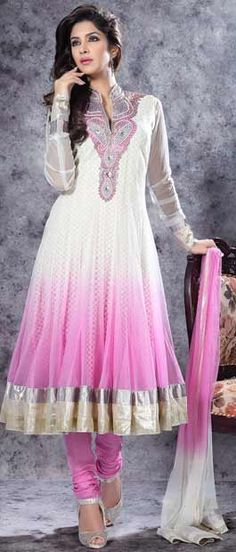 #White and #Pink Flare Net #Churidar #Kameez @ $139.75 | Shop Here: http://www.utsavfashion.com/store/sarees-large.aspx?icode=krf1