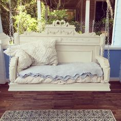 Porch Swing from old headboard. #reclaimedwood #oneofakind #porchliving #zencowgirl