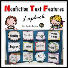 Nonfiction Text Features: 16 pages use this lapbook to help your students apply what they have learned about nonfiction text features in a fun way. This packet may be used as a project or as an activity after you discuss the features. Just print the pages then have your students cut and glue the features in a folder. Colored and black and white version were included for you to choose from.
