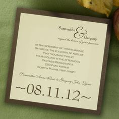 "This stylish, square shaped contemporary wedding invitation features two layers of luxurious card stock with metallic and shimmer paper options as well. Your text is imprinted with raised ink printing. Card colors, paper types and envelopes are all changeable, so feel free to mix and match for your particular taste.    Dimensions: 6.25"" x 6.25"" (W x H)"