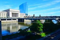 Philadelphia cityscapes view of the train station from across the Schuykill river