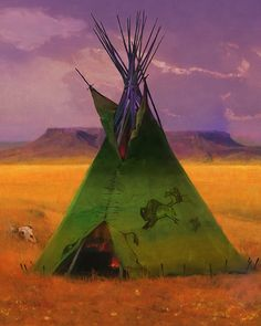 Tom Gilleon - Green Buffalo Lodge - LIMITED EDITION CANVAS from the Greenwich Workshop Fine Art Gallery featuring fine art prints, canvases, books, porcelains and gift ideas. Native Indian, Native Art, Conceptual Sketches, Native American Artwork, Workshop, Canvas Signs, Western Art, First Nations, Large Art