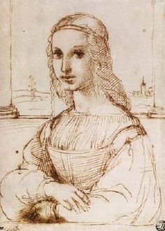 Raffaello Sanzio. Portrait of a Woman, 1505-06. Pen and ink wash over stylus, 222 x 159 mm. This drawing is a freely rendered copy of Leonardo's Mona Lisa, especially in the closely observed placement of the half-length figure at an angle that gives it volume and convincingly creates the space it inhabits. (INV 3882) -Musée du Louvre, Paris- Site: http://arts-graphiques.louvre.fr/detail/oeuvres/33/101111-Femme-en-buste-de-trois-quarts-vers-la-gauche-les-bras-croises