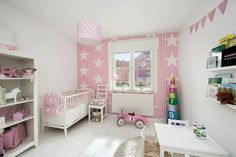 pink girl's nursery with stars