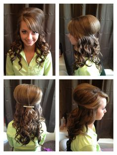 Teased and curly half up do. Homecoming hair