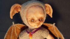 OOAK fantasy art doll. Needle felted Little Baby Vampire Bat art doll/sculpture.