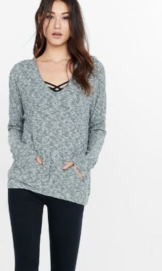 plush jersey express one eleven v-neck hoodie from EXPRESS
