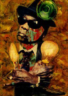 "Saatchi Art Artist CARMEN LUNA; Collage, ""50-Collagemania. John Lee Hookep."" #art http://www.saatchiart.com/art-collection/Assemblage-Collage/Collagemania-CARMEN-LUNA/71968/46137/view"