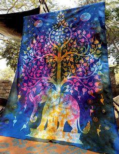 Tie Dye Elephant Tapestry Wall Hanging Throw Bedspread Decor Mandala Tapestry Ar #Unbranded #ArtDecoStyle