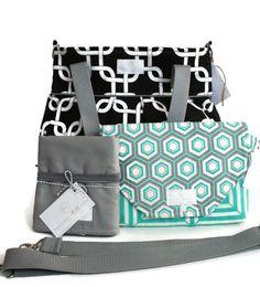 Diaper Bag Gift Set - Black Gotcha Diaper Bag - Turquoise Hexagon Diaper Clutch Set - Messenger Strap