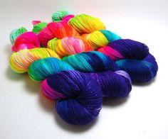Handpainted Superwash Merino Sparkle Sock Yarn by KnittyAndColor #Dot Shawl