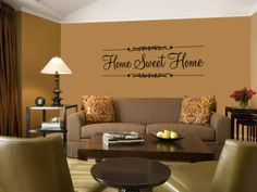 Home sweet home quote in a longue wall art decal vinyl sticker