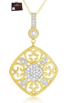 Fiona's 925 Sterling Silver Filigree Vermeil Plated Two Tone Square Shaped Quartz Pendant - Incl. ClassicDiamondHouse Free Gift Box & Cleaning Cloth ClassicDiamondHouse. $65.80. Great gift for any occasion or upcoming event. Truthfully, she'll get satisfied with this stylish CZ Diamonds!. Wow! Look at this fine piece of CZ jewelry. Want more? You'll also receive a freebie jewelry care cloth marked with our symbol. Wow!Packed in a Beautiful Engraved box And Free Cloth....