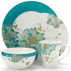 222 Fifth Eliza Teal 16-pc. Dinnerware Set