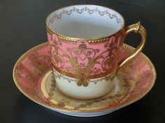 Royal Crown Derby UK 1905 Pink Cups, Royal Crown Derby, Chocolate Cups, China Tea Cups, Tea Bowls, China Dinnerware, Sugar And Spice, China Porcelain, Drinking Tea