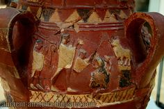 Painted Hittite pottery, detail