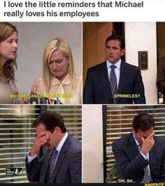 I love the little reminders that Michael really loves his employees - iFunny :) Really Funny Memes, Stupid Funny Memes, Funny Relatable Memes, Haha Funny, Hilarious, Top Funny, Best Of The Office, The Office Show, Office Tv