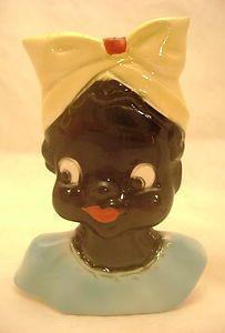 Vintage McCoy ? Black Americana Ceramic Little Mammy Wall Pocket Head Vase.