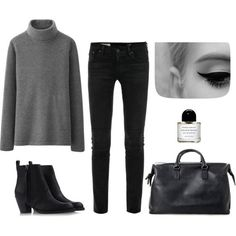 A fashion look from November 2014 featuring Uniqlo sweaters, AG Adriano Goldschmied jeans and Acne Studios ankle booties. Browse and shop related looks. Minimal Chic, Minimal Classic, Minimal Fashion, Uniqlo, Mode Style, Style Me, Latest Fashion For Women, Womens Fashion, Fashion Trends