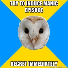 Bipolar Owl how about manic psychosis or suicide? Oh yeah, it can get a whole lot worse. Bipolar disorder is a very serious illness! Living With Bipolar Disorder, Panic Disorder, Anxiety Disorder, Mental Disorders, Infp, Introvert, Chronic Illness, Mental Illness, Chronic Pain
