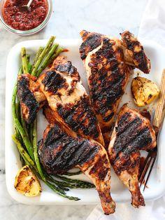 Chicken Grilled Under a Brick with Harissa #recipe on foodiecrush.com