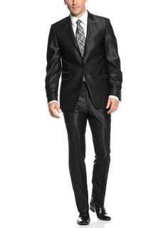 Andrew Fezza Slim Fit Black Shiny Suit 42 Regular 42R Flat Front Pants 35W