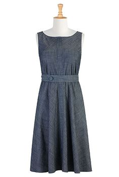 Sash waist chambray dress