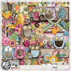 An Owl Themed Digital Scrapbook Kit. Hand painted by mle Card.