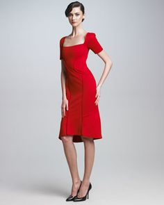 The detail on the back of this dress; love!    Square-Neck Dress by Zac Posen at Neiman Marcus.