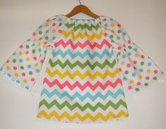 SALE 10% off  coupon is thanku  Chevron Pastel top  Longer Riley Blake fabric peasant tunic top long sleeves   in sizes 5t or 6) on Etsy, $17.99