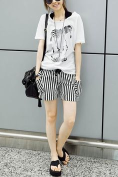 Striped Drawstring Hot Shorts