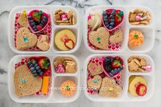 Valentine's week lunch number 4! The kids helped pack today, since I didn't  get the lunches made last night. I made the sandwiches and cut the apples,  they did all the rest - arranging it all in the boxes, and having fun with  lots of fun little picks.  Since they were standing there when I made the sandwiches, they got to  choose. One has just bread and butter, one has butter with strawberries,  one has cream cheese with strawberries, one has butter and turkey. They  have berries…