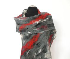 Cobweb Felted scarf ,hand  felted scarf , wool scarf,  merino wool scarf,gray  red white, OOAK scarf, one of the kind, unique scarf ,