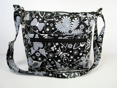 Black and White Butterflies / Flowers Handmade Fabric Purse / Cross Body Handbag by darlingsdesigns on Etsy