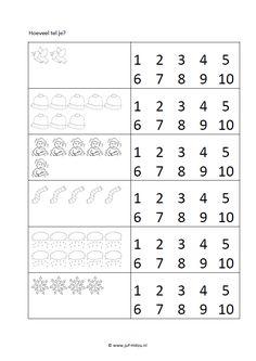 Hoeveel tel je? [juf-milou.nl] Math Worksheets, School, Website, Pdf, Image, Winter, Film, Christmas, Xmas