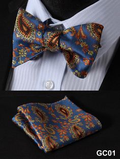 Blue Yellow Men Butterfly Self Tie Bow Tie Square Handkerchief Hanky Suit Set