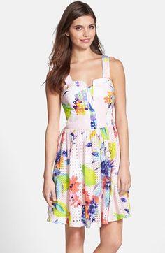 Trina Turk 'Elin' Print Cotton Eyelet Fit & Flare Dress