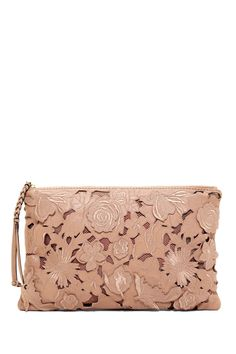 Valentino Leather Floral Lace  Clutch
