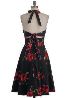 Noir Rose Garden Dress, #ModCloth