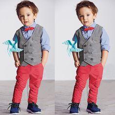 Boys Fashion Gentleman Suits Baby Kids Waistcoat Bowtie 4pcs Party Clothes Set