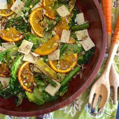 This 'transition to spring' salad includes roasted orange slices and roasted asparagus tossed with cheddar, sunflower seeds and grilled romaine lettuce. No Carb Recipes, Flour Recipes, Homemade Protein Powder, Grilled Romaine Lettuce, Dandelion Jelly, Large Salad Bowl, Spring Salad, Low Carbohydrate Diet, Diabetic Snacks