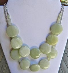 Bib Necklace Statement Necklace Seafoam by CoastAndMountainArts, $40.00
